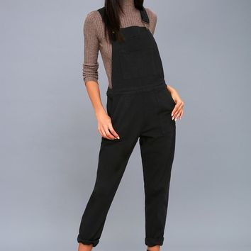 Kagan Black High-Waisted Overalls