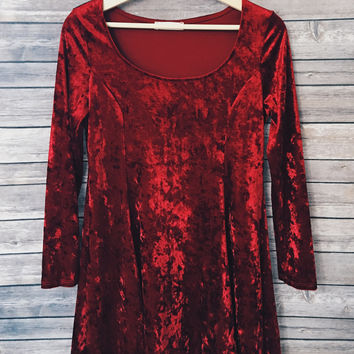 Audrina Velvet Skater Long Sleeve Dress