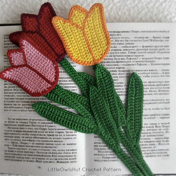 044 Tulip bookmark or decor - Amigurumi Crochet Pattern - PDF file by Zabelina Etsy