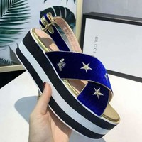 Gucci Casual Fashion Ankle Buckle Women Cross Sandalsl Slipper Shoes