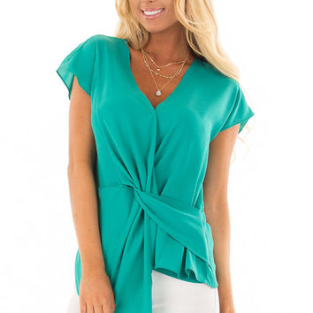 Sea Green Cap Sleeve Blouse with Twisted Front