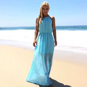 Primetime Maxi Dress In Aqua Blue