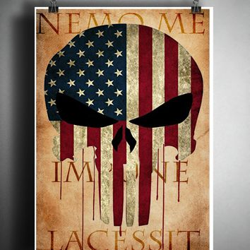 Punisher skull, Patriotic Decor, American flag art, american eagle art print, military art