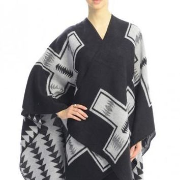 CROSS Printed Poncho