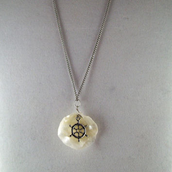One of a kind  Ships Wheel and Sea Shell Necklace