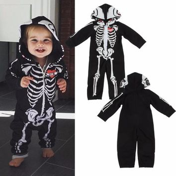 Black Hooded Baby Skeleton Halloween Costumes