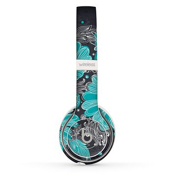 The Bright Blue Accented Flower Illustration Skin Set for the Beats by Dre Solo 2 Wireless Headphones