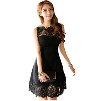 Hollow Out Black Dress Ladies 2017 Summer Sleeveless Sleeve Sexy Party Women Lace Dresses Robe Femme Plus Size Womens Clothing