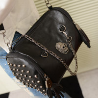 Vintage Punk Skull Rivet Chain Bag One Shoulder Cross-body Women's Multifunctional Handbag