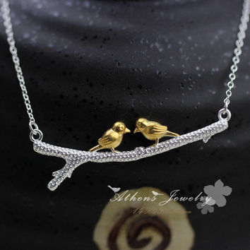 OPAL FERRIE - Two Birds Sterling Silver Necklace & Pendant Statement Necklace