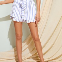 Striped Drawstring Waist Tiered Layer Shorts