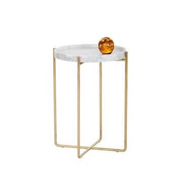 LIZ GOLD STEEL BASE WHITE MARBLE TOP SIDE TABLE