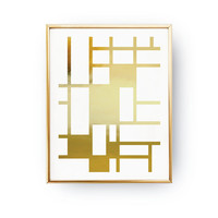 Abstract Print Poster, Real Gold Foil, Gold Geometric Pattern, Geometric Print Poster, Minimalist Poster, Mid Century Modern, Home Decor.