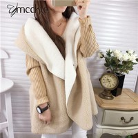 Women's Long Hooded lambswool Pacthwork Loose Oversize Cardigans 2016 Autumn Winter Fashion Women Knitted Outwear Coat-in Cardigans from Women's Clothing & Accessories on Aliexpress.com | Alibaba Group