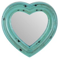 Antique Turquoise Wood Heart-Shaped Mirror | Shop Hobby Lobby