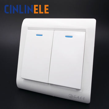 1Pcs Luxury Wall Switch 2 Gang 1 Way Ivory White Brief Art Weave Light Switch AC 110~250V 10A 86mm*86mm