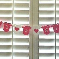 It's A Girl Baby Shower Banner Hanging Onesuits, pink and white, Photo Prop