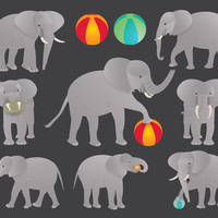 Elephant Clip Art, quality elephants images & beach balls, digital clipart, collage sheet, invites, crafts, parties, diy, Buy 2 Get 1 Free