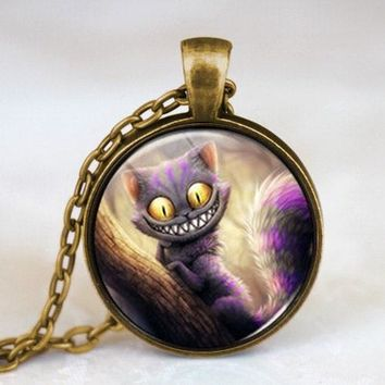 New Movie Alice in Wonderland Cat Fairytale Pendant Steampunk Necklace doctor who 1pcs/lot women mens vintage chain 2017 antique