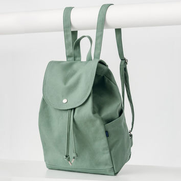 Minimal Drawstring Backpack Olive