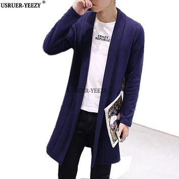 USRUER-YEEZY Hot Sell Autumn Fashion Sweater Men Medium-long Pull Homme Male Solid Slim Cardigan Long Mens Cardigans Trench Coat