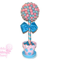 Pink and Blue Lollipop Gender Reveal Centerpiece, Candy Topiary, Baby Shower, Gender Reveal, Centerpiece, Pink and Blue, Polka Dots, Party