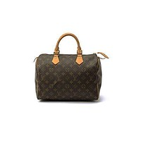 Tagre™ LV Authentic Women's Vintage Louis Vuitton Speedy 30 Brown Monogram Travel Bag