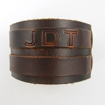 Personalized Men's Bracelet, Men's Leather Cuff Bracelet, Black Brown 2 Strap Leather Custom Bracelet for Him Man