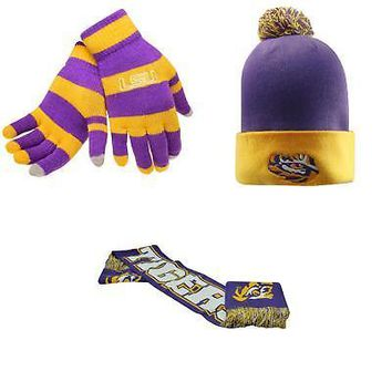 Licensed NCAA LSU Tigers Glove Stripe Knit Spirit Scarf And Pom Beanie Hat 3 Pack 45446 KO_19_1