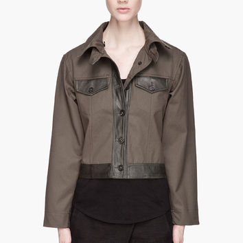 Damir Doma Deep Green Leather-trimmed Jurua Jacket