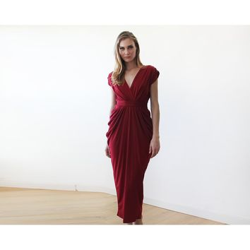 Wine red formal maxi dress (Champagne) 1008