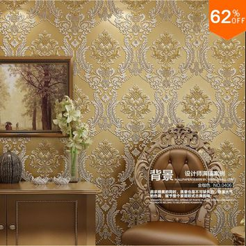 2017 Luxury Euro Hotel Wall Papers Wall Damask Wallpaper Golden Floral carving 3D velvet Wallpaper for Living Room Wall covering