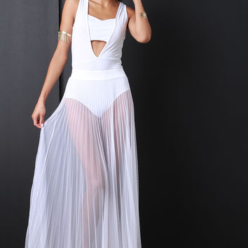 Accordion Pleat Tulle Maxi Skirt