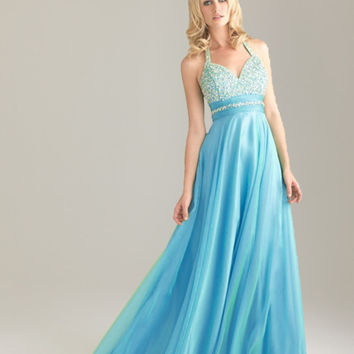 Silk Chiffon Beaded Long Party Dress