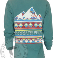 Gamma Phi Beta Mountains Motto Pocket Long Sleeve - Adam Block Design