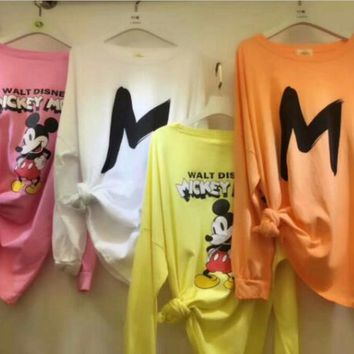 Fashion cartoon Mickey Mouse print long sleeve top Sweater H-AQ-331#-HHNZ