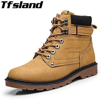 Keep Warm Men Winter Boots PU Leather Wear Resisting Ankle Boots Waterproof Plush Walking Shoes Tooling Men Snow Boots Sneakers