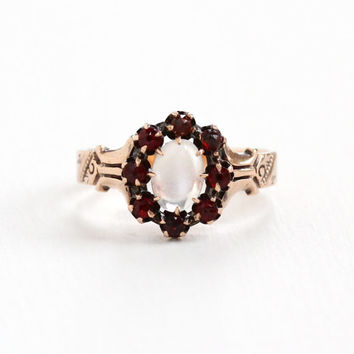 Antique Victorian 10k Rose Gold Moonstone & Garnet Ring - Size 7 Vintage 1800s Cluster Halo Red and White Gemstone Fine Jewelry