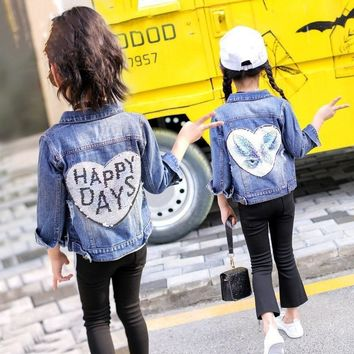 Trendy Girls denim jacket 2018 new autumn bling sequins printing butterfly beauty letter coat kids long sleeve children casual clothes AT_94_13
