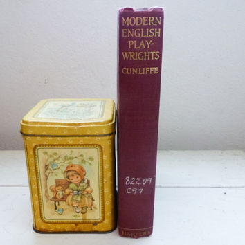 Modern English Play-wrights by John W. Cunliffe - vintage book, personal library, graduation gift ideas, college gift ideas, roaring '20s