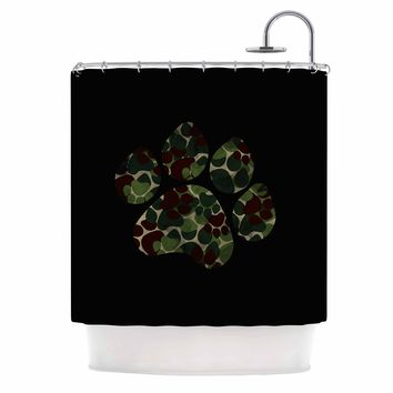 "Eikwox ""Camo Paw"" Green Brown Illustration Digital Animal Print Animals Shower Curtain"