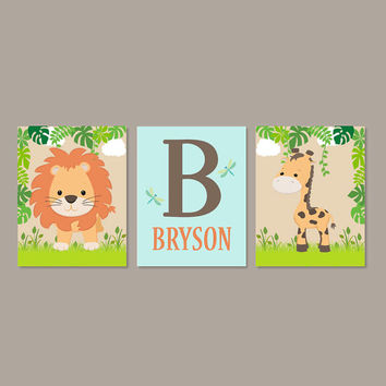 Safari Nursery Decor, Jungle Animals, Boy Nursery Decor, Baby Animal Prints, Baby Shower Gift, Boy Nursery Art, Set of 3 Prints Or Canvas