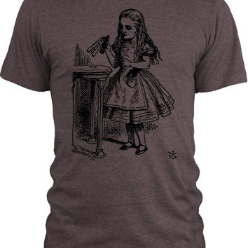 Big Texas Alice in Wonderland - Drink Me (Black) Vintage Tri-Blend T-Shirt