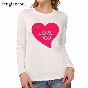 Fashion Women red heart t-shirt spring sutumn full sleeve 100% cotton female print i love you t shirt Variety of styles