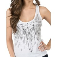 Rock & Roll Cowgirl Women's White with Silver Studs Hi-Lo Tank Top