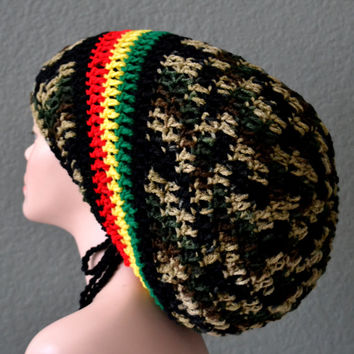 Unisex Crochet Rasta Hat. Dreadlocks Hat. Bob Marley Hat.