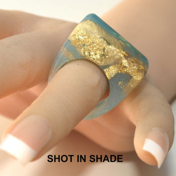 MODERN Mood Ring, Changes Color in Sun, Kick Down the Door Oceanic Blue Ring, Gold Leaf Ring, Coolest Mood Ring Ever!