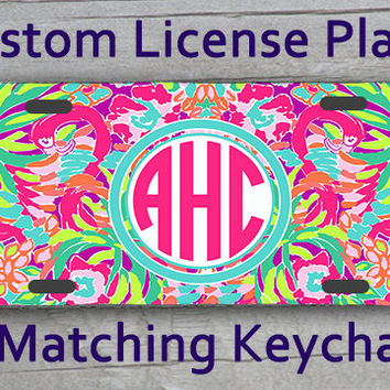 Custom Monogrammed personalized license plate. Lily Pulitzer LuLu Flamingo inspired Vanity car tag #1060