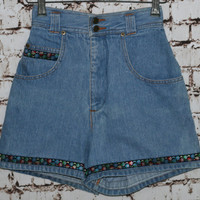 90s High Waist Denim Shorts Embroidered Floral Ribbon Trim Festival Boho Hippie Hipster Grunge Light Wash 24 XS S 0 70s 80s Jean Waisted