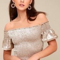 Farrah Taupe Smocked Velvet Off-the-Shoulder Crop Top